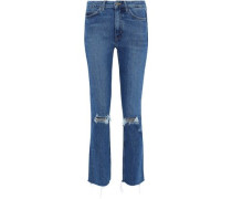 Daily Distressed High-rise Slim-leg Jeans Mid Denim  4