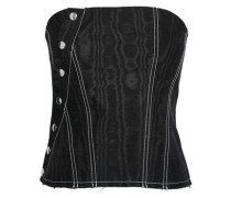 Strapless Shirred Cotton-blend Moire Top Black