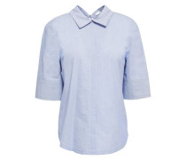 Striped Cotton-jacquard Top Light Blue Size 00