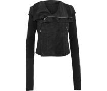 Brushed-leather Biker Jacket Black