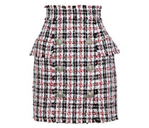 Button-detailed Tweed Mini Skirt Multicolor