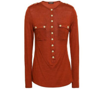 Button-embellished Wool And Silk-blend Jersey Top Brick