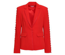 Button-embellished Crepe Blazer Tomato Red