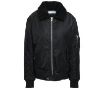 Abore Faux Shearling-trimmed Shell Bomber Jacket Black