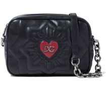 Logo-embellished Quilted Leather Shoulder Bag Black Size --