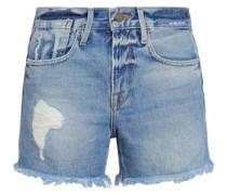 Stevie Distressed Denim Shorts Mid Denim  5