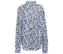 Woman Printed Silk-twill Shirt Light Blue