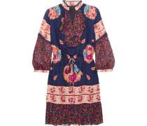 Printed silk-jacquard and silk-crepon mini dress