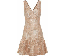 Fluted Brocade Mini Dress Rose Gold