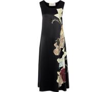 Appliquéd Silk-satin Midi Dress Black
