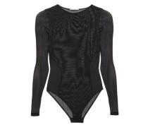 Alice Singing Lace-paneled Stretch-mesh Bodysuit Black