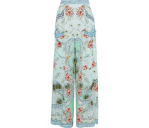 Shades Of Rio Embellished Printed Silk Crepe De Chine Wide-leg Pants Mint