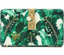 Dolce crystal-embellished printed jacquard box clutch