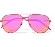 Aviator-style Acetate Mirrored Sunglasses Fuchsia Size --