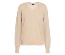 Metallic Cotton-blend Sweater Sand