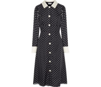 Satin-trimmed polka-dot silk-chiffon dress