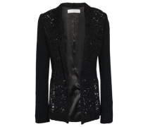 Cotton-blend Corded Lace And Crepe Jacket Black