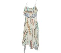 Ruffled Printed Silk-gauze Dress Multicolor