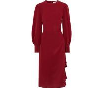 Woman Ruffle-trimmed Silk-satin Midi Dress Crimson