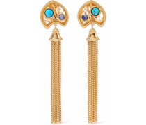 Gold-tone, stone and tassel clip earrings