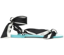 Knotted Printed Silk-twill Sandals Black