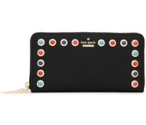 Embellished Textured-leather Continental Wallet Black Size --