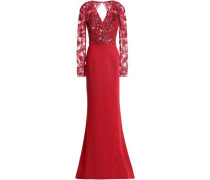 Embellished embroidered silk-blend tulle and crepe gown