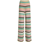 Crocheted cotton-blend wide-leg pants