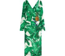 Embellished printed silk-blend dress