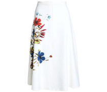 Flared Floral-print Crepe Skirt Ivory