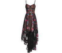 Asymmetric Embroidered Tulle Gown Black Size 12