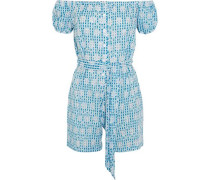 Off-the-shoulder broderie anglaise gingham cotton playsuit