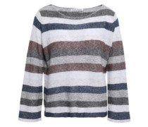 Striped Cashmere And Silk-blend Sweater Gray