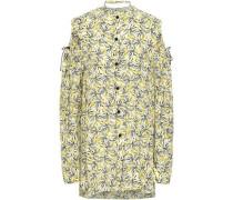 Ripley Cold-shoulder Cutout Floral-print Silk Shirt Pastel Yellow