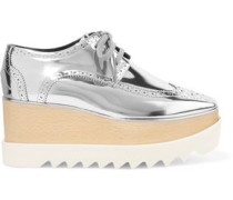 Mirrored faux leather platform brogues