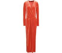 Wrap-effect Gathered Velvet Gown Orange