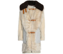 Buckled shearling and brushed-wool coat