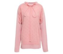 Woman Ruffle-trimmed Merino Wool-blend Bouclé Sweater Pink