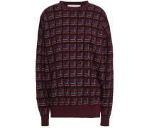 Checked Wool-jacquard Sweater Burgundy