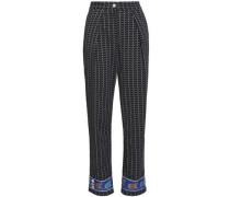 Printed Crepe Straight-leg Pants Midnight Blue