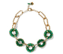 Courmayeur Gold-tone, Quartz And Crystal Necklace Green Size --