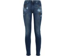 Appliquéd Mid-rise Skinny Jeans Dark Denim  4