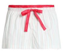 Neon-trimmed printed cotton-poplin pajama shorts