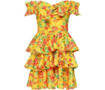 Hellena Off-the-shoulder Floral-print Crochet-knit Mini Dress Yellow