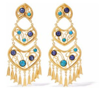 Gold-tone cabochon clip earrings