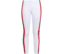 Striped French Cotton-blend Terry Track Pants White
