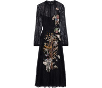 Appliquéd Silk Lace Gown Black