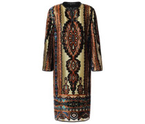 Woman Metallic Printed Devoré-velvet Dress Gold