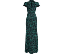 Floral-jacquard Gown Midnight Blue Size 14