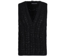Lamé-trimmed Cable-knit Alpaca-blend Sweater Black